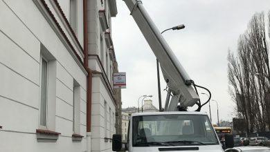 podnośnik koszowy Mercedes Multitel 20m przy pracy